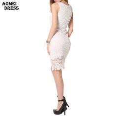 S 5XL Summer Sleeveless Crochet Dress Embroidery Lace Sundress Ladies White Black Women's Dresses Robes Slim workwear Tunics