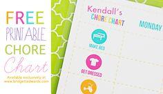 {Free Printable} Children's Chore Chart
