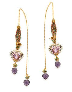 Manish Arora @Amrapali Jewels collection Heart of Gold earrings with chain and drops to fasten around the ear (20,400 INR).