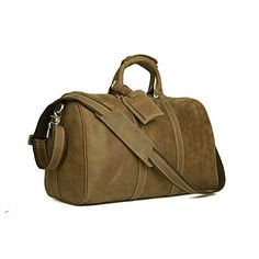 Baigio Christmas Holiday Mens Tan Brown Crazy Horse Leather 14 Inch Laptop Travel Duffel Bags *** ** AMAZON BEST BUY **