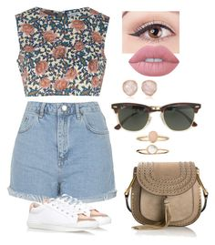 """""""Untitled #100"""" by i-love-modas on Polyvore featuring Glamorous, Topshop, Lime Crime, Monica Vinader, Chloé, Ray-Ban and Accessorize"""