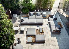 "Quadrado outdoor seating system, Marcio Kogan / studio mk27 design; Prince ""Cord"" outdoor, Rodolfo Dordoni design. #minotti70 #marciokogan #outdoor #2018collection #madeinitaly #rodolfodordoni"