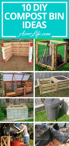 10 DIY Compost Bin Ideas for any skill level. 10 DIY compost bin ideas ranging from no building required to intermediate building skills required. Find the compost bin that fits your needs and skills. Build Compost Bin, Outdoor Compost Bin, Wooden Compost Bin, Faire Son Compost, Making A Compost Bin, How To Make Compost, Garden Compost, Best Compost Bin, Compost