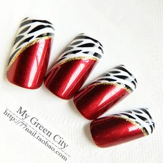 Aliexpress.com : Buy Gentlewomen Wine French excellent red leopard print false nail patch from Reliable gel nail suppliers on Jessie's shop. $8.90