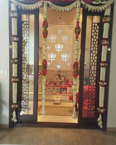 Prayer room ideas hindu Puja room or a prayer room is an intrinsic part of every hindu hosehold. Temple Room, Home Temple, Temple Design For Home, Layout Design, Housewarming Decorations, Pooja Room Door Design, Design Room, Mandir Design, Pooja Mandir