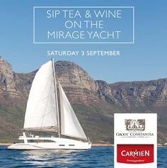 Sip tea and drink Groot Constantia wine on board a luxury yacht Luxury Yachts, Events, Wine, Tea, Drinks, Beverages, Drink, Teas, Beverage