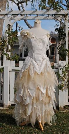 Deluxe Fairy Fantasy Silk Custom Gown with Flowers Your Color and Size. $850.00, via Etsy.