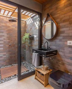 Do you have a vision for an outdoor shower? Employ this definitive DIY guide to build an outdoor shower & create a dreamy backyard escape! Outdoor Baths, Outdoor Bathrooms, Rustic Bathrooms, Bathroom Design Inspiration, Home Decor Kitchen, Beautiful Bathrooms, Modern Rustic, Farmhouse Decor, Interior Decorating
