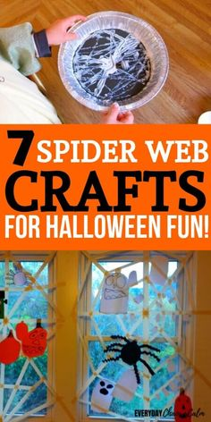 Do your kids love Halloween, monsters, and spiders! Try one of these 7 cool spider web crafts with your kids for some good spidery-fun! Homemade Halloween Decorations, Halloween Crafts For Kids, Crafts For Kids To Make, Diy Arts And Crafts, Halloween Fun, Kids Crafts, Spider Web Craft, Spider Crafts, Spider Webs