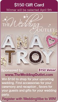 Wedding Giveaway - Win $150 to spend at The Wedding Outlet for your wedding in this contest!