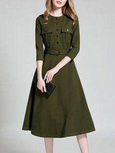 Buttoned 3/4 Sleeve Solid Casual A-line Midi Dress with Belt