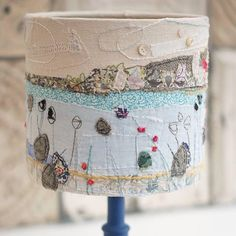 St Ives Lampshade:)hand stitched by me:) Free Motion Embroidery, Hand Embroidery Designs, Embroidery Stitches, Embroidery Ideas, Sewing Art, Sewing Crafts, Sewing Projects, Felt Fabric, Fabric Art