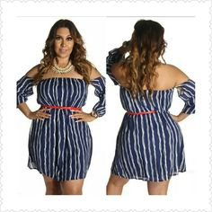 🎉🎈HP🎉🎈Pinstripes off the shoulder Dress Cute and flirty Pinstripe off the shoulder attached lining Mini Dress. Pair with a belt and sandals or heels..Material: 70% Cotton, 30% Polyester. Thank you and Happy Poshing!!! *Your choice of Red or White Belt* Dresses Mini