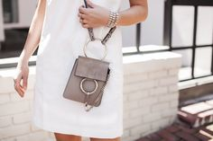 Little White Dress // Neutral Accessories // Taupe // Chloe // Best Bags for Summer // Bracelet Bag // Faye