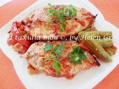 Τα ταξίδια μου : Φαγκρί στο Φούρνο με Ντομάτα και Λαχανικά - Bream Baked with Tomato and Vegetables Seafood Recipes, Chicken, Meat, Baking, Vegetables, Bakken, Vegetable Recipes, Ocean Perch Recipes, Backen