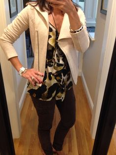 CAbi Fall '14 Ryder Jacket, Bittersweet Cargo and Fall '13 Ingenue Cami. www.nancydowning-schloss.cabionline.com #cabiclothing  The Ingenue Cami is one of my favorite items from last fall.