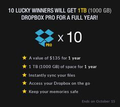 Enter to Win Dropbox Pro<br /> For a Full Year!