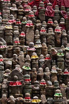 Stone Jizo statues at Okunoin temple on Koyasan, Japan