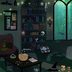 Hogwarts Houses common rooms in Halloween season - slytherin