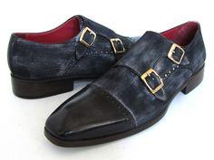 PAUL PARKMAN ® The Art of Handcrafted Men's Footwear - Paul Parkman Men's Captoe Double Monkstraps Navy Suede (ID#FK77W)