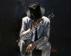 """Fabian Perez """"Мужчина в шляпе"""", картина раскраска по номерам, размер 40*50 см, 750руб."""