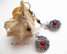Long Gray Red Wire Wrapped Earrings, Unique Round Red Dangle Earrings, Boho Earrings, Romantic Valentine Jewelry, Red Goth Earrings,