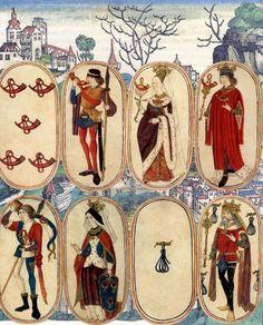 Cartas da Caça flamenga pintado desenhado à mão acredita-se  ter sido produzido na França ou Borgonha, final do século XV.