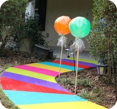 Candyland- maybe have this walkway leading in through the house and front yard, but with bloody foot prints and hand prints.