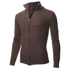 Men's Casual Cable Knit Full-Zip up Wool Sweater Cardigan (PZ405 ...