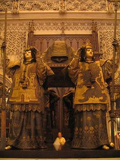 Tomb of Christopher Columbus, Seville Cathedral, Seville, Spain. Four kings at arms support the coffin on their shoulder. Small Planet, Dearly Beloved, Christopher Columbus, Life Is An Adventure, South Pacific, Spain Travel, Wonders Of The World, American History, Places Ive Been