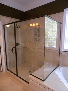 Semi Frameless Shower Enclosure With A 90 Degree Glass To