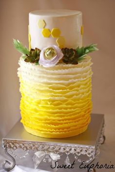 Succulent Wedding ceremony Desserts Double Barrel Cake With Wafer Flowers Gumpaste Succulents And Ru Double Barrel Cake, Succulent Wedding Cakes, Ruffle Cake, Ruffles, Modern Cakes, Wafer Paper Cake, Different Cakes, Mint, Colorful Cakes
