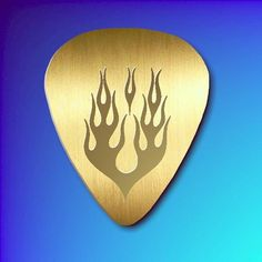 Polished Brass Guitar Pick - The Flame