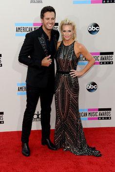 Luke Bryan and wife Caroline Bryan at AMAs
