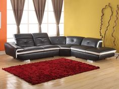 Canapé d'angle en cuir LOMANDE - Noir - Angle droit prix promo Vente Unique 1 199.99 € TTC prix constaté 1 399.00 €