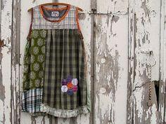 Upcycled Boho Chic Dress Tunic, Green Patchwork Breezy Summer Shift Handmade Original Design Hand Appliqued Clothing, Womens Large XLarge