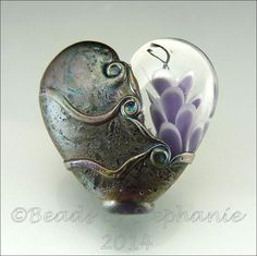 PURPLE HEART Glass Bead Lampwork Pendant Large Focal Handmade Jewelry Supplies - by Stephanie Gough sra fhfteam leteam op Etsy, £23.93