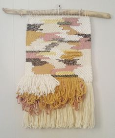 "Large Woven Wall Hanging / ""Patches"" / Tissage / Handwoven / Gray / Mustard / Pink / Cream / Fiber A Colorful Wall Art, Tapestry Weaving, Wall Tapestry, Macrame Projects, Woven Wall Hanging, Weaving Techniques, Vintage Fabrics, Hand Weaving, Weaving Art"