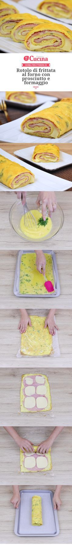 Rotolo di frittata al forno con prosciutto e formaggio