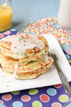 Wish my daughter was home from college, I would totally make these for her birthday!  Happy Birthday Baby Girl!    Cake Batter Pancakes by daintychef, via Flickr