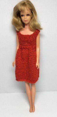 Sparkling Red Christmas Sheath - Vintage Francie or Skipper Sized