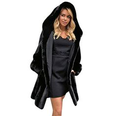 75819e61ad7 New Winter Women s Fur Jackets Chic Black Long Thick Warm Hooded Overcoat  Faux Fur Cotton Liner Women Pocket Fur Coat Casacos
