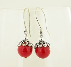 Red Coral With Round Hook Sterling Silver Earrings by 57north, $19.99