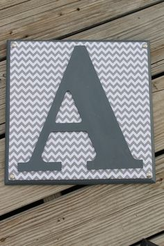 Gray Chevron Monogram Letters Wood Wall Plaque by ReadinginRags, $24.98