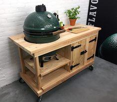 Douglas tafel met kast + Kamado Joe / Bastard / Big Green Egg ... Kamado Joe, Summer Kitchen, Green Eggs, Bbq Grill, Diy Furniture, Backyard, Big, Garden Ideas, Home Decor