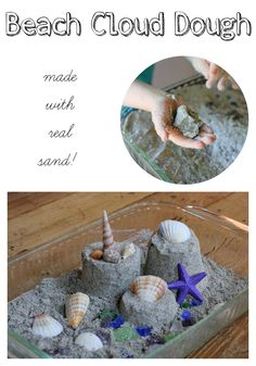 A recipe for Beach Sand Cloud Dough that uses real sand! The fluffiest, lightest sand ever - dry but still mouldable. 1 cup sand, 1 cup flour, combine well and add baby oil Beach Activities, Preschool Crafts, Toddler Activities, Preschool Activities, Crafts For Kids, Indoor Activities, Family Activities, Ocean Crafts, Beach Crafts