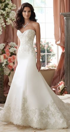 Sleek with a touch of romance ~ David Tutera for Mon Cheri Spring 2014 Bridal Collection | bellethemagazine.com