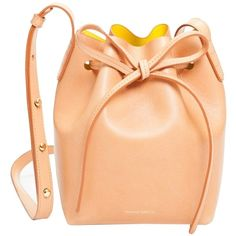 Pre-owned Mansur Gavriel Nwt Sun Yellow Mini Mini Bucket Cammello... ($595) ❤ liked on Polyvore featuring bags, handbags, shoulder bags, cammello, yellow shoulder bag, bucket bag, mini shoulder bag, bucket bag purse and crossbody handbags
