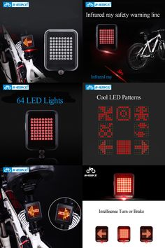 [Visit to Buy] INBIKE 64 LED Bicycle Light Bike Cycling Waterproof Super Light with USB Turn Brake Lights Night Riding Laser Warning Taillights #Advertisement