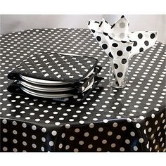 BLACK WHITE POLKA DOTS SPOTS FABLON EASY CLEAN TABLECLOTH INDOOR OR OUTDOOR NEW
